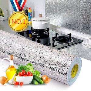 Waterproof Aluminum Foil Kitchen Stove Cabinet Self Adhesive Sticker DIY