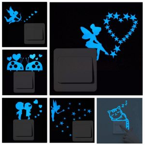 Cat Fairy stars Fluorescent Switch Sticker