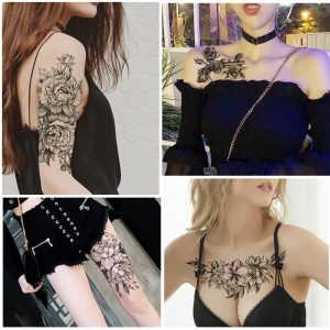 Women Girl Temporary Tattoo Sticker Black Roses
