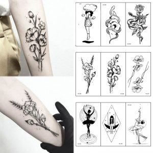 Drawing Body Art Black White Flowers Tattoos Sticker